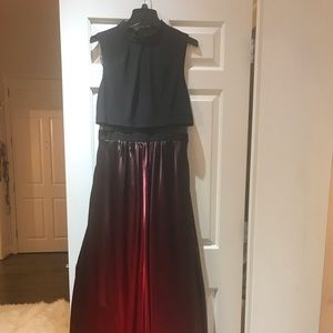 Betsy & Adam Halter Red/Black Gown w/ Mesh Detail